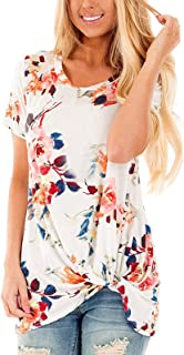 SHIBEVER Summer Soft Loose Casual Women's Tops Shirts Fashion Twist Knotted Blouses Short Sleeve Round Neck Tunic T Shirt