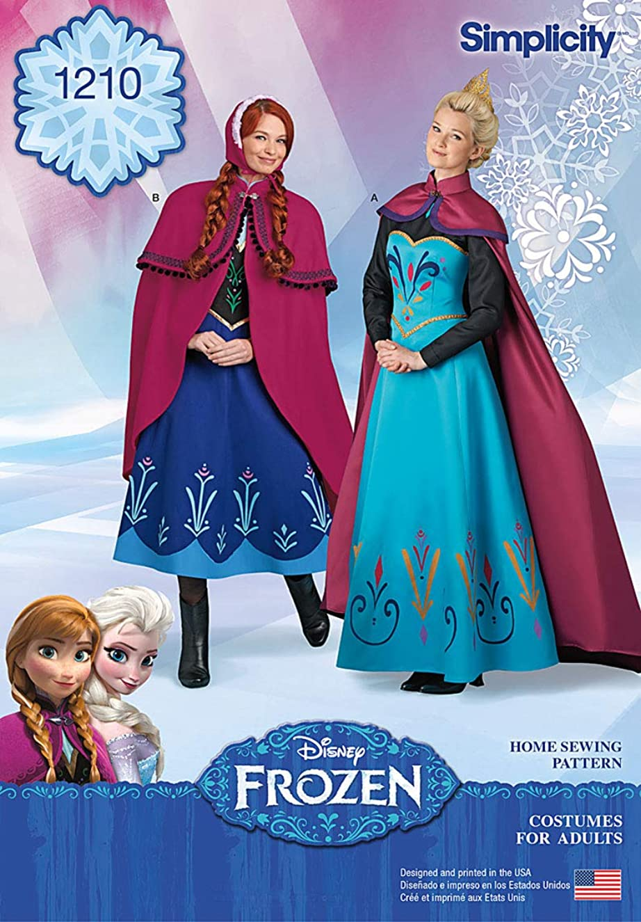 Simplicity 1210 Disney's Frozen Elsa and Anna Women's Halloween Costume Sewing Patterns, Sizes R5 (14-22)