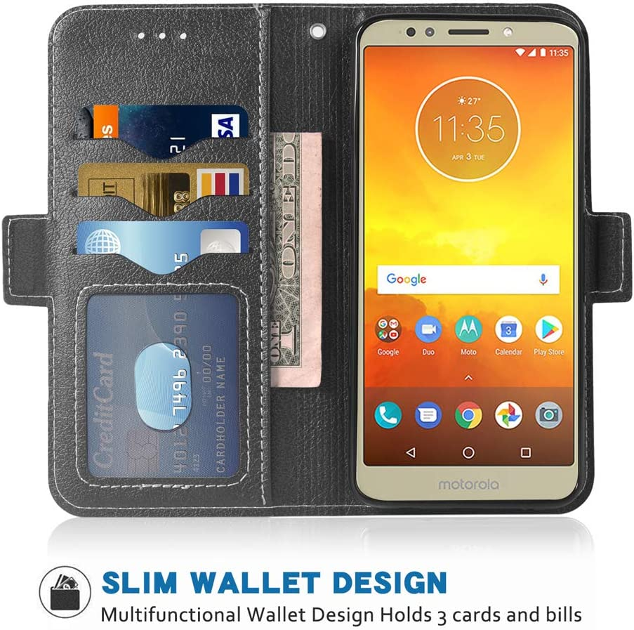 Phone Case for Moto E5/G6 Play/MotoG6 Forge Folio Flip Wallet Case,PU Leather Credit Card Holder Slots Full Body Protection Kickstand Protective Phone Cover for Motorola Moto 6G G6Play MotoE5