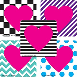 SmileMakers Valentine's Patterned Hearts Sticker - Prizes 100 per Pack