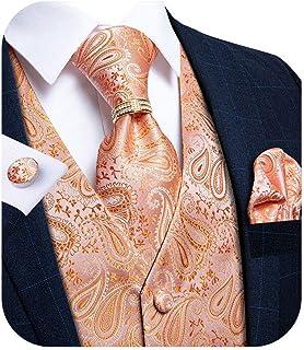 DiBanGu Mens Paisley Suit Vest Set, 6 PCS Jacquard Formal Tuxedo Waistcoat and Tie Fashion Accessories