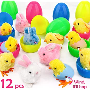 | Party Favors Reward Buckets Game /& Activities Toys Easter Jumping Cartoon Rabbit Bunny Wind Up Toy Pack of 6 Assorted Colors