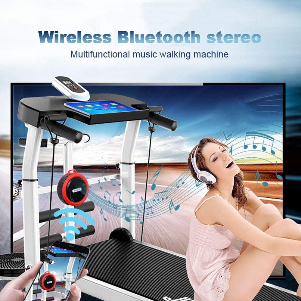 YYBFP Tapis De Course Machine De Marche Ultra-Silencieuse Multifonctionnelle Tapis Roulant Pliant avec Audio Bluetooth//Corde De Traction//Tour De Taille//Support IPAD Portant 150 Kg
