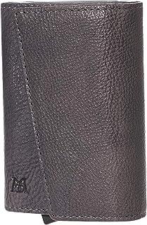 ManChDa Genuine Leather RFID Blocking Magnetic Money Organizer Trifold Wallet Aluminum Detachable Pop up Card Holder Case