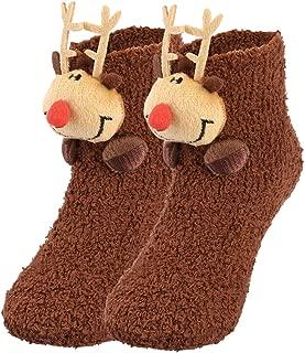 Adult Toddler Coral Fleece Slipper Socks Warm Fuzzy Crew Floor Socks with Anti-skid Granules