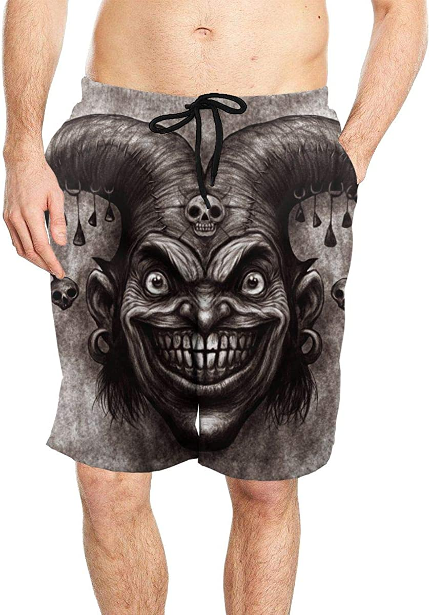 DASMUS Laughing Angry Joker Mens Quick Dry Beach Board Shorts Swim Trunks with Mesh Lining