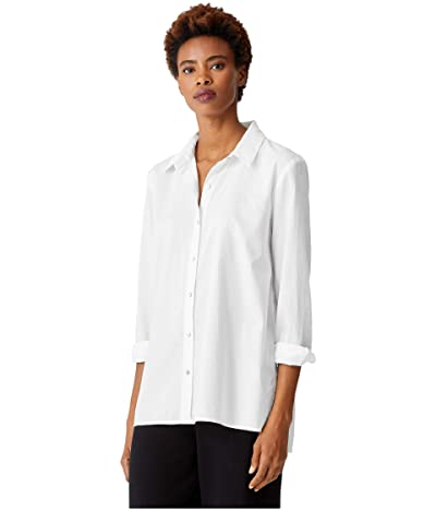 Eileen Fisher Organic Cotton Classic Collar Shirt (White) Women