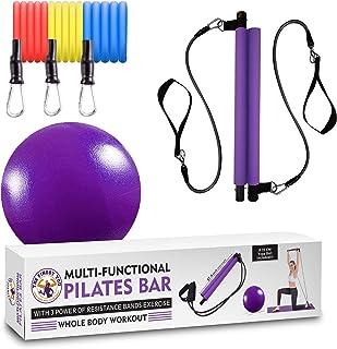 Kit de barra de pilates de resistencia multifuncional con 3 bandas de resistencia de potencia, portátil para el hogar, gim...