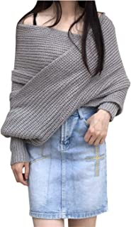 Women's Deep V Neck Cable Knit Shawl Scarf Wrap Sweater Top