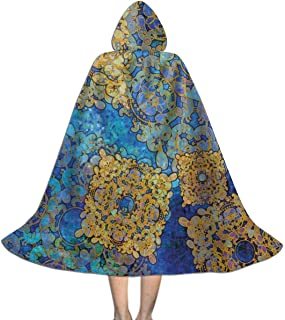 Kids Cape Cloak with Hood Traditional Oriental Moroccan Effects Boho Full Length Halloween Hooded Cloak Christmas Fancy Cape Costumes for Boys Girls