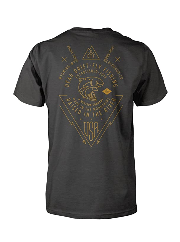 Dead Drift Fly Heritage, Charcoal Fly Fishing Tee-Shirt