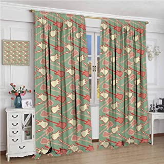 Guitar for Bedroom Blackout Curtains Striped and Two Colored Electric Guitar Silhouettes and Outlines Blackout Curtains for The Living Room W96 x L84 Inch Reseda Green Vermilion Cream
