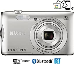 Nikon Coolpix A300 20.1MP 8x Optical Zoom NIKKOR WiFi Silver Digital Camera 26519B - (Renewed)