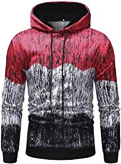 neveraway Men Pullover Long Sleeve Casual Hood Spell Color Sweatshirts