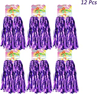 hatisan 12 Pack Cheerleading Pom Poms, Cheerleader Pompoms Metallic Foil Pom Poms for Sports Team Spirit Cheering Party Dance Useful Accessories