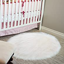 20 x 20 inch Round Fluffy Rug Faux Fur Round Rug Shaggy Floor Area Carpet for Living Bedroom Sofa Supplies