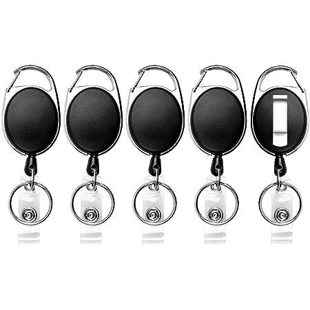 Teskyer Lot de 5 porte-badges rétractables en acier inoxydable robuste et mousqueton - Se clipse facilement sur les ceintures, les poches, les portefeuilles, les sacs à dos