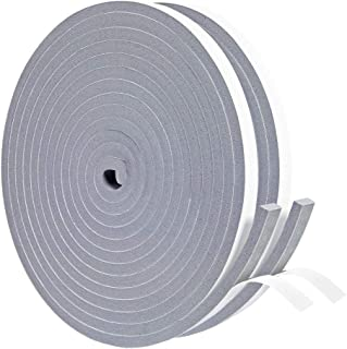 Gray Foam Weather Stripping Tape 2 Rolls 3/8 Inch Wide X 1/4 Inch Thick, Seal Draft Insulation Soundproofing for Windows, ...