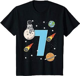 Enfant 7ème Anniversaire Space Astronaut 7 Ans Garçon Fille T-Shirt