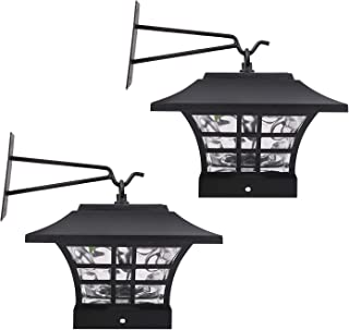 HECARIM Hanging Solar Lantern Lights, Outdoor Decorative LED Solar Powered Garden Lantern for Patio Landscape Yard with Wall Mount Kit, 2 Pack