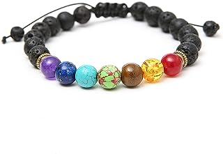 Bead Chakra Bracelet--8mm Lava Rock 7 Chakras Aromatherapy Essential Oil Diffuser Bracelet Braided Rope Natural Stone Yoga...