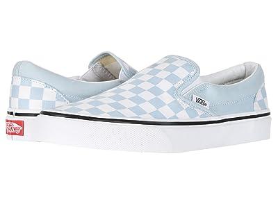Vans Classic Slip-On ((Checkerboard) Baby Blue/True White) Skate Shoes