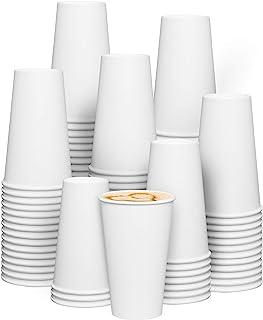 [200 عبوة] 473 مل أكواب قهوة ساخنة ورقية بيضاء للاستعمال مرة واحدة