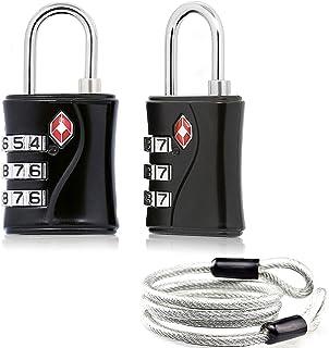 Aspen TSA Candados Combinacion para Maletas Equipaje Candados de Seguridad Candados Viaje (Negro) con Cable de Bloqueo,Fácil de Instalar, Cuerpo de aleación de Zinc