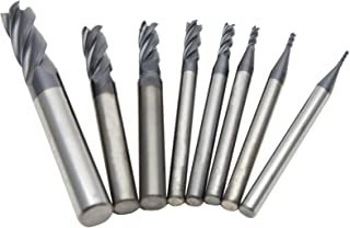 Wokesi Pack of 8,0.5/1/1.5/2/2.5/3/4/6mm Blade Diameter,Square Nose End Mill Set,4 Flute,HRC55,TiAlN Coated,Solid Tungsten Carbide,Router Bits Cutting Milling Tools(0.5/1/1.5/2/2.5/3/4/6mm HRC55)