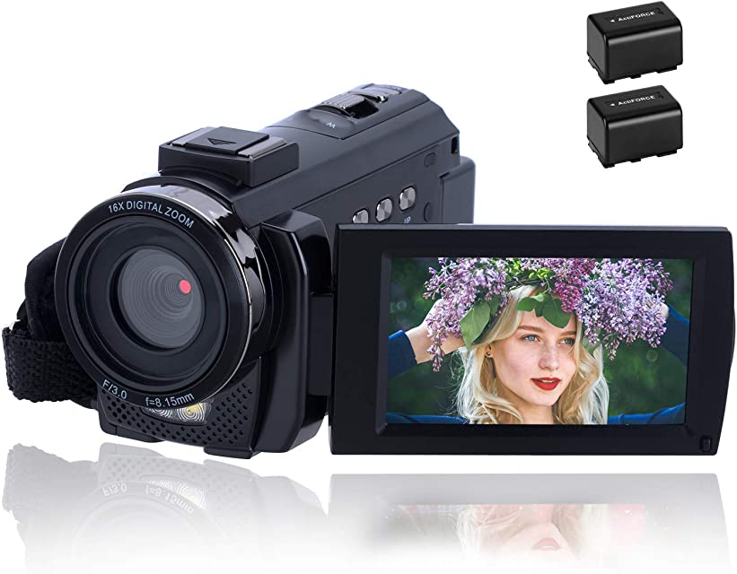 Videocámara 1080P CofunKool Video Camara 24MP FHD Vlogging Camera para Youtube 270 ° Flipping 3.0 Pantalla táctil IPS con Control Remoto y 2 baterías rechargeables