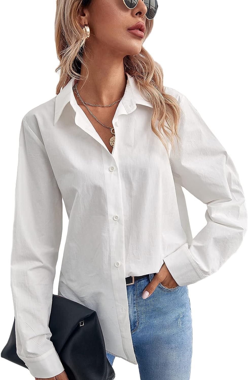 SheIn Women's Long Sleeve Button Down Shirt Solid Basic Workwear Blouse Tops