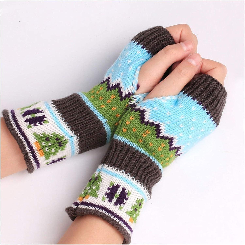 JBIVWW Christmas Knitted Arm Fingerless Warmer Gloves Winter Gloves Unisex Soft Warm Mitten (Color : Grey, Gloves Size : One Size)
