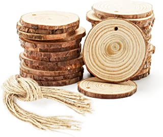 Wood Ornaments, 30-Piece Natural Wood Slices, 2.4-2.8 Inches Craft Wood, Unfinished Pre-Drilled Wooden Circles with Rope, Arts and Crafts Supplies, DIY Christmas Ornaments