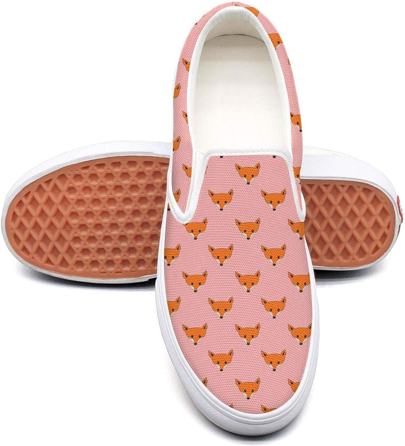 Feenfling Cute Fox Head Womens Printed Slip on Low Top Canvas Basketball shoes