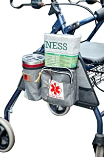 Rollator Walker Attachment Side Bag with Cup Holder by P&F   Deluxe Rolling Walker Pouch   Adult Folding Walker Accessories for Seniors or Elderly (Gray)