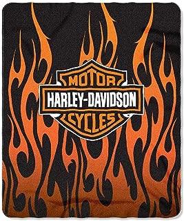 Harley-Davidson Orange Flames Fleece Throw