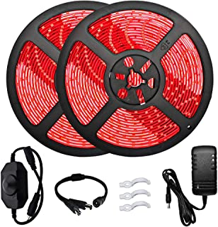 32.8ft Red LED Strip Lights Kit, Waterproof IP65 Led Strip SMD2835 Dimmable 600LEDs Red LED Strip with DC12V 3A Power Supply, Brightness Controller, Under Cabinet Mirror Indoor Outdoor Red LED Lights