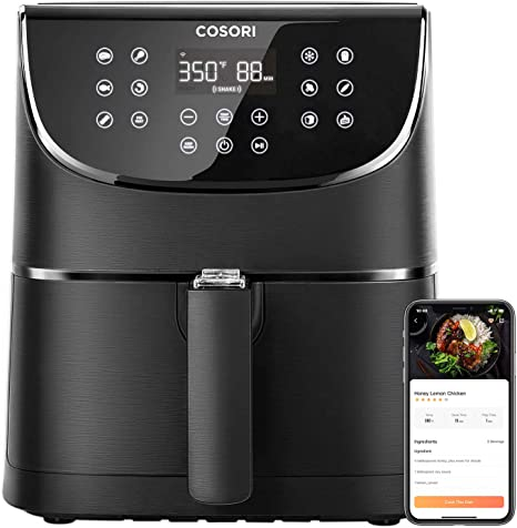COSORI Smart WiFi Air Fryer(100 Recipes), 13 Cooking Functions, Keep Warm & Preheat & Shake Remind, Works with Alexa & Google Assistant, 5.8 QT, Black