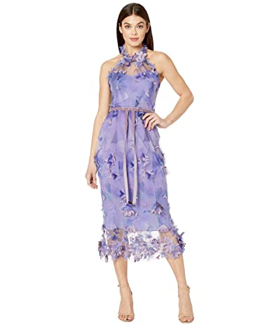 Marchesa Notte Sleeveless Printed Tulle Halter Cocktail (Lilac) Women