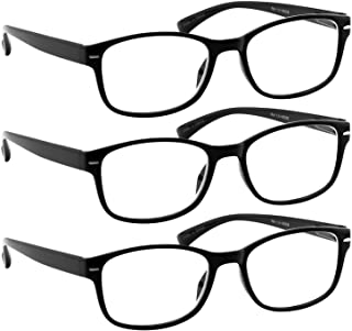 Reading Glasses 1.25 Black 3 Pack Always Have a Timeless Look, Crystal Clear Vision, Comfort Fit with Sure-Flex Spring Hinge Arms & Dura-Tight Screws