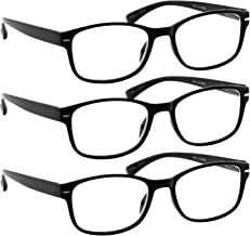 Reading Glasses 1.75 Black 3 Pack Always Have a Timeless Look, Crystal Clear Vision, Comfort Fit with Sure-Flex Spring Hinge Arms & Dura-Tight Screws