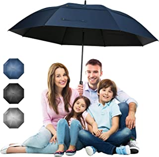 68 inch Extra Large Windproof Golf Umbrella UV Protection with Wooden Handle Automatic Open Double Canopy Vented Sun Rain Umbrellas Waterproof Oversize Stick Umbrellas for Men Women