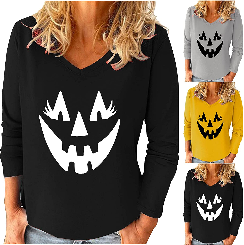 Halloween Womens V Neck Pullover Tops Fashion Graphic Long Sleeve Tee Shirt Solid Sweatshirt