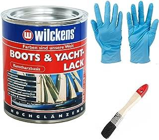 Kunstharzlack Boots & Yachtlack inkl. Pinsel zum Auftragen und Nitrilhandschuhe 375 ml