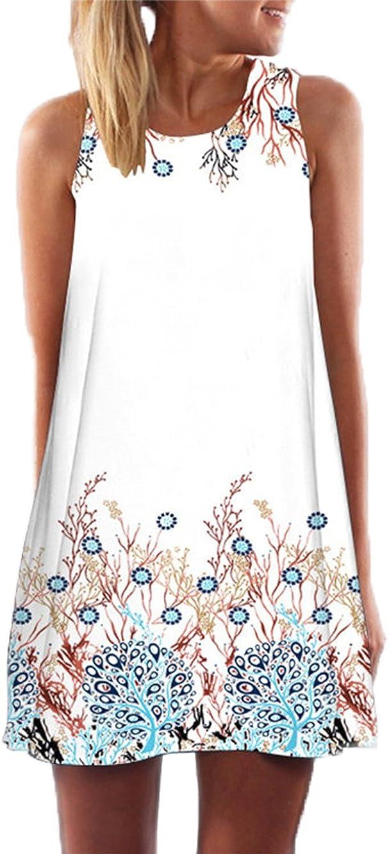 YOINS Mini Dress for Women Summer Random Floral Print Round Neck Sleeveless Casual Short Top Dresses