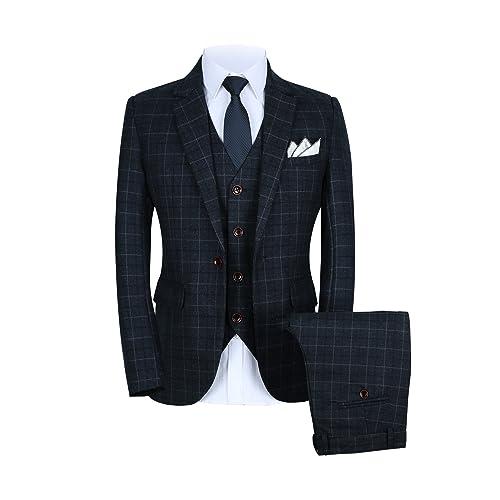 Mens One Button Slim Fit Plaid Suit Blazer+Vest+Pants US ...