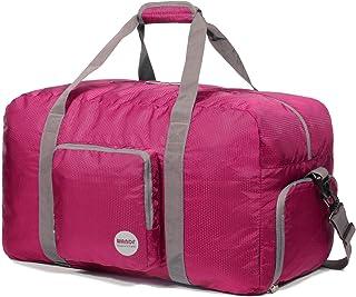 WANDF Foldable Travel Duffel Bag Sac de Voyage Pliable Sac de Sport Gym Résistant à l'eau Nylon (Rose, 60L)