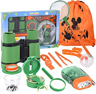 Kid Adventure Kit, 12 Piece Outdoor Exploration Kit, Children's Toy Binoculars, Flashlight, Compass, Butterfly Net, Magnifying Glass, Whistle, Best Gifts for Birthday, Camping,Hiking, Educational
