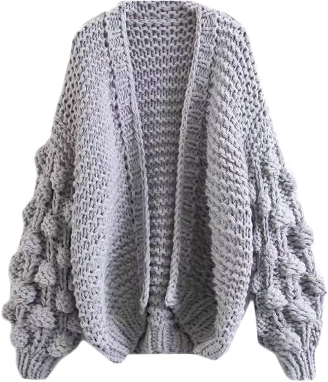 Fulok Womens Elegant Knit Hollow Boyfriend Open Front Cardigan Jacket