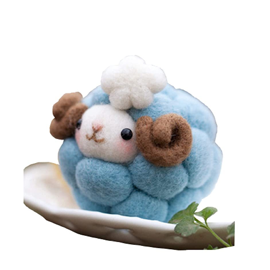 Cool Beans Boutique Wool Felting DIY Kit with Tools – Blue Sheep (with English Instructions) – Great Starter kit